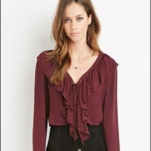 Forever 21 Lace Up Ruffle Blouse
